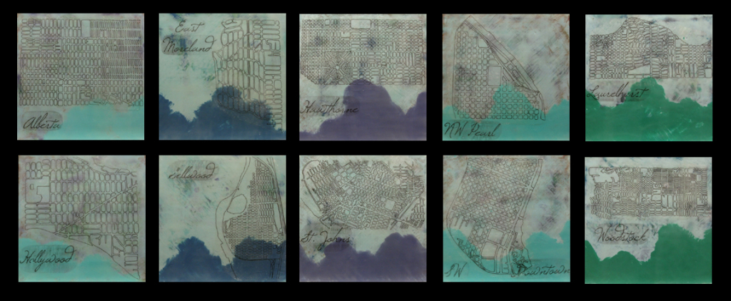 My 10 encaustic pieces for the show.  Hand drawn maps of Portland neighborhoods.  Come find yours!